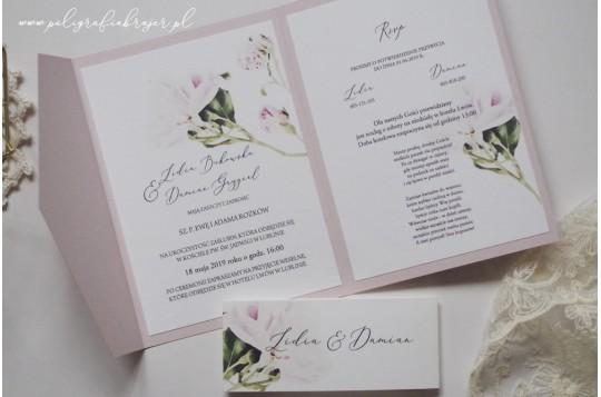 Zaproszenia kopertowe pudrowy róż