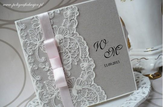 Zaproszenia ślubne koronkowe eko