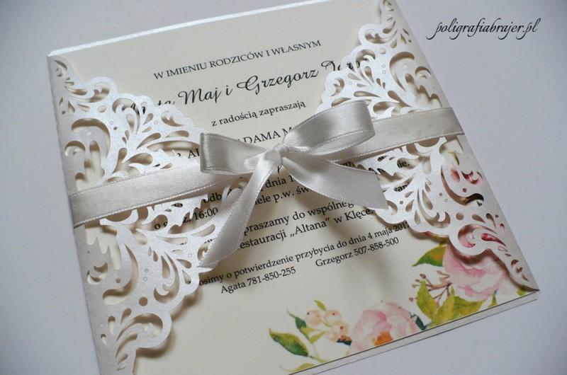 Zaproszenia perłowe koronkowe