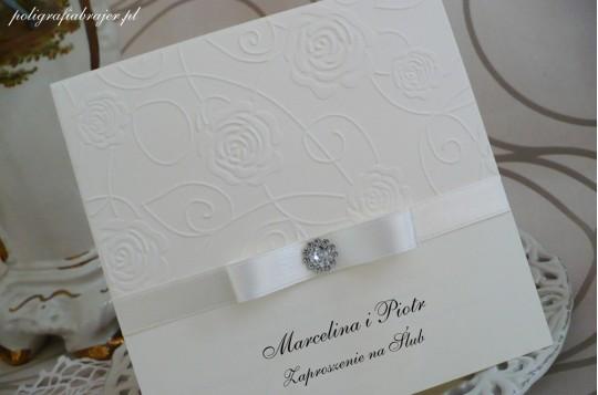 ZT 1 Zaproszenia ślubne tłoczone z kryształkiem