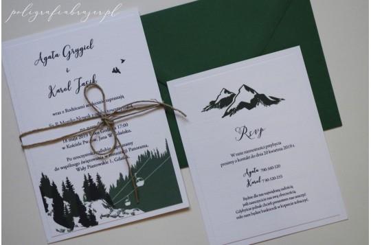 Zaproszenia z motywem gór zielone