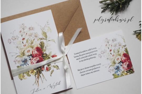 Zaproszenia bukiet kwiatów z łąki