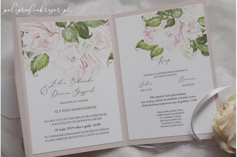 Zaproszenia ślubne z piwoniami
