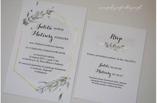 Zaproszenie ślubne z motywem złota i gałązką