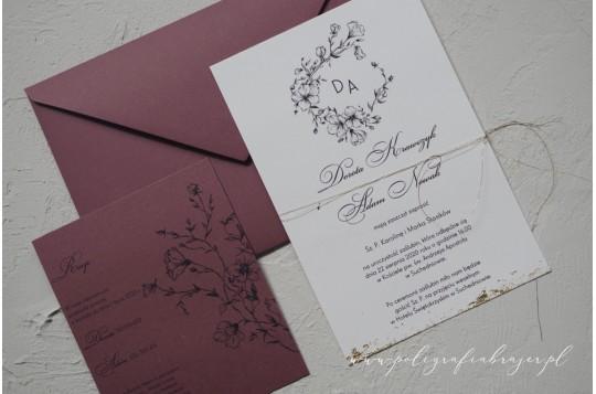 Zaproszenie kwiatowe z monogramem