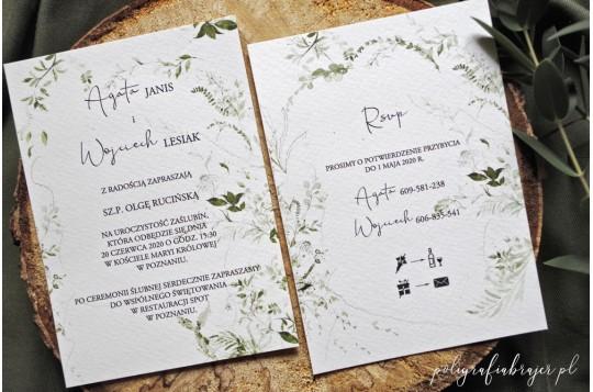 Zaproszenie ślubne z motywem roślinnym