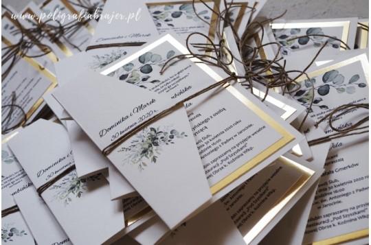 Zaproszenia złote z eukaliptusem