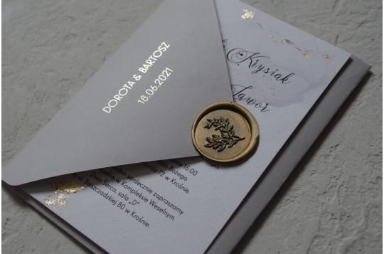 Zaproszenia marmur Grey